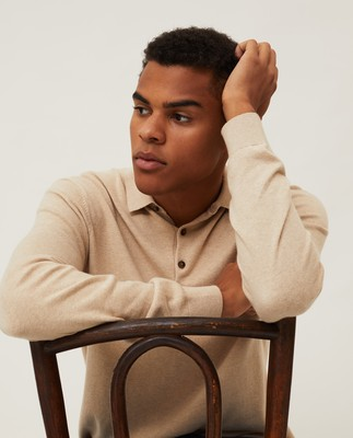 Riley Cotton/Cashmere Blend Knitted Polo, Beige Melange
