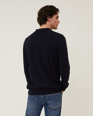 Riley Cotton/Cashmere Blend Knitted Polo, Dark Blue