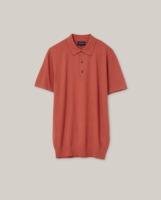 Angelo Cotton/Silk Blend Knitted Polo, Red