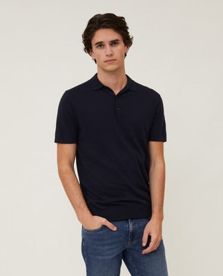 Angelo Cotton/Silk Blend Knitted Polo, Dark Blue