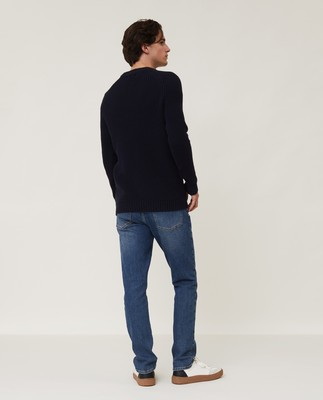 Otis Fisherman Sweater, Dark Blue
