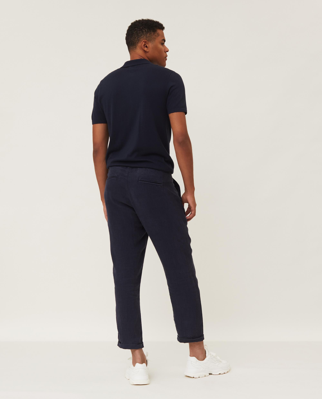Hugh Linen Pants, Dark Blue