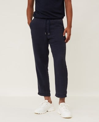 Hugh Linen Pants, Dark Blue