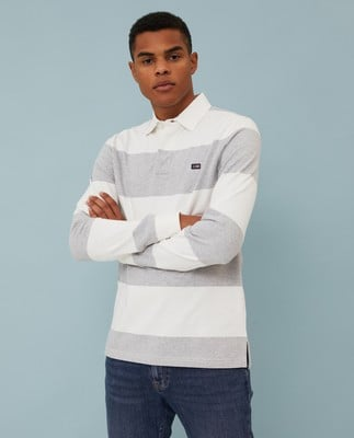Theodore Rugby Shirt, Gray/White Stripe