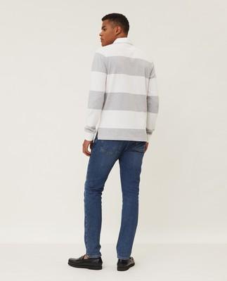 Theodore Rugby Shirt, Gray/White Stripe