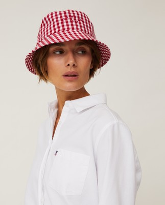 Bridgehampton Checked Bucket Hat, Red/White Check