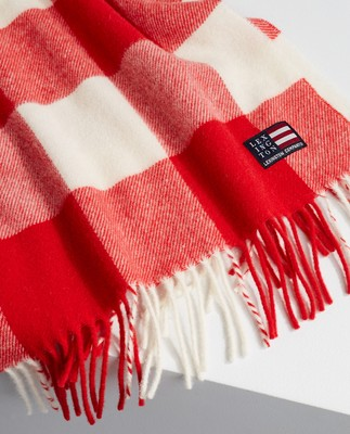 Massachusetts Recycled Wool Blend Scarf, Red/White Check