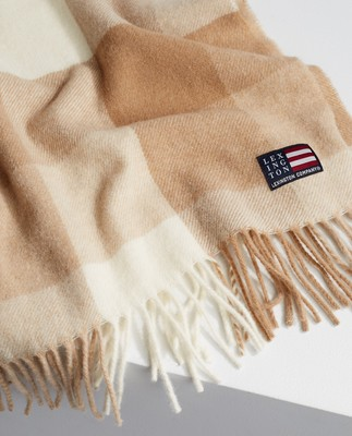 Massachusetts Recycled Wool Blend Scarf, Beige Multi Check