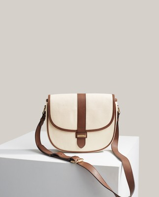 Bianco Canvas/Leather Saddle Bag