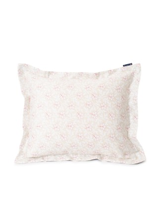 Light Beige/Pink Flower Print Cotton Sateen Pillowcase