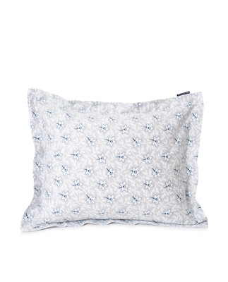 Light Gray/Blue Flower Print Cotton Sateen Pillowcase
