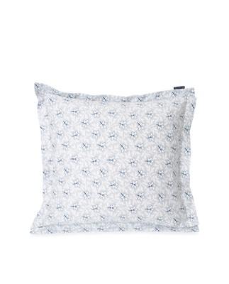 Light Gray/Blue Flower Print Cotton Sateen Pillowcase