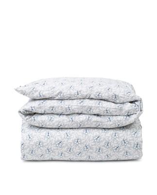 Light Gray/Blue Flower Print Cotton Sateen Duvet Cover