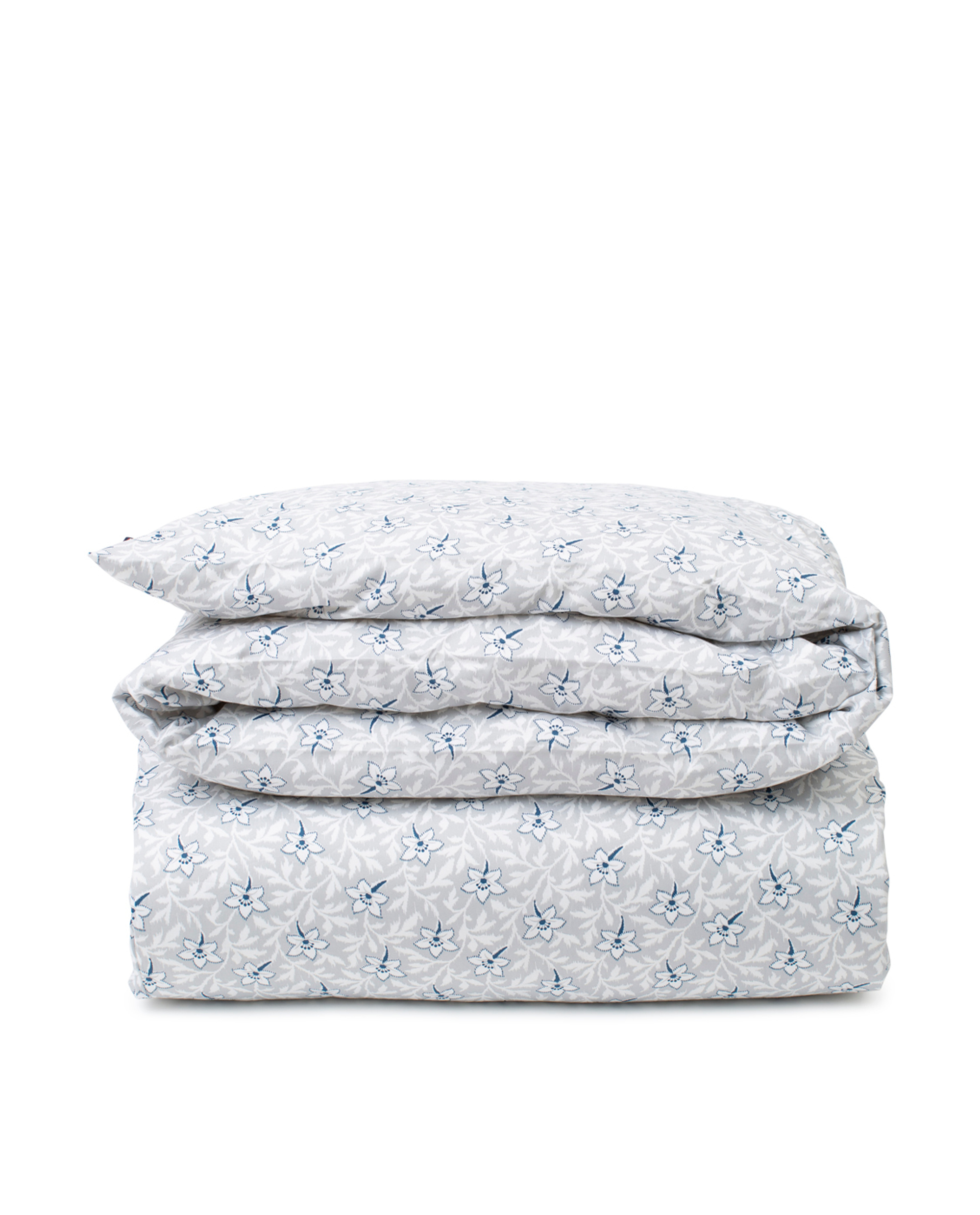 Light Gray/Blue Flower Print Cotton Sateen Duvet Cover