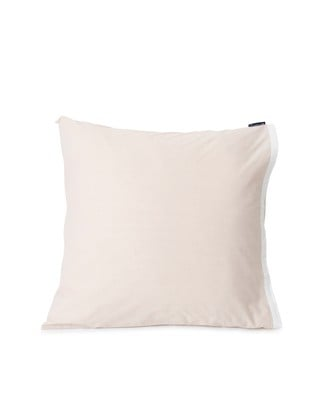 Beige/White Contrast Cotton Chambray Pillowcase