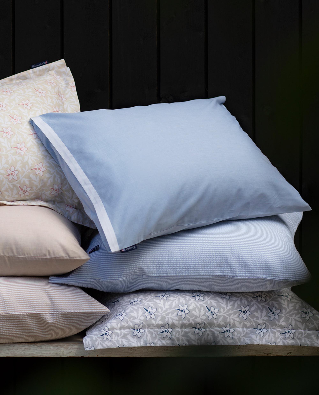 Blue/White Contrast Cotton Chambray Pillowcase