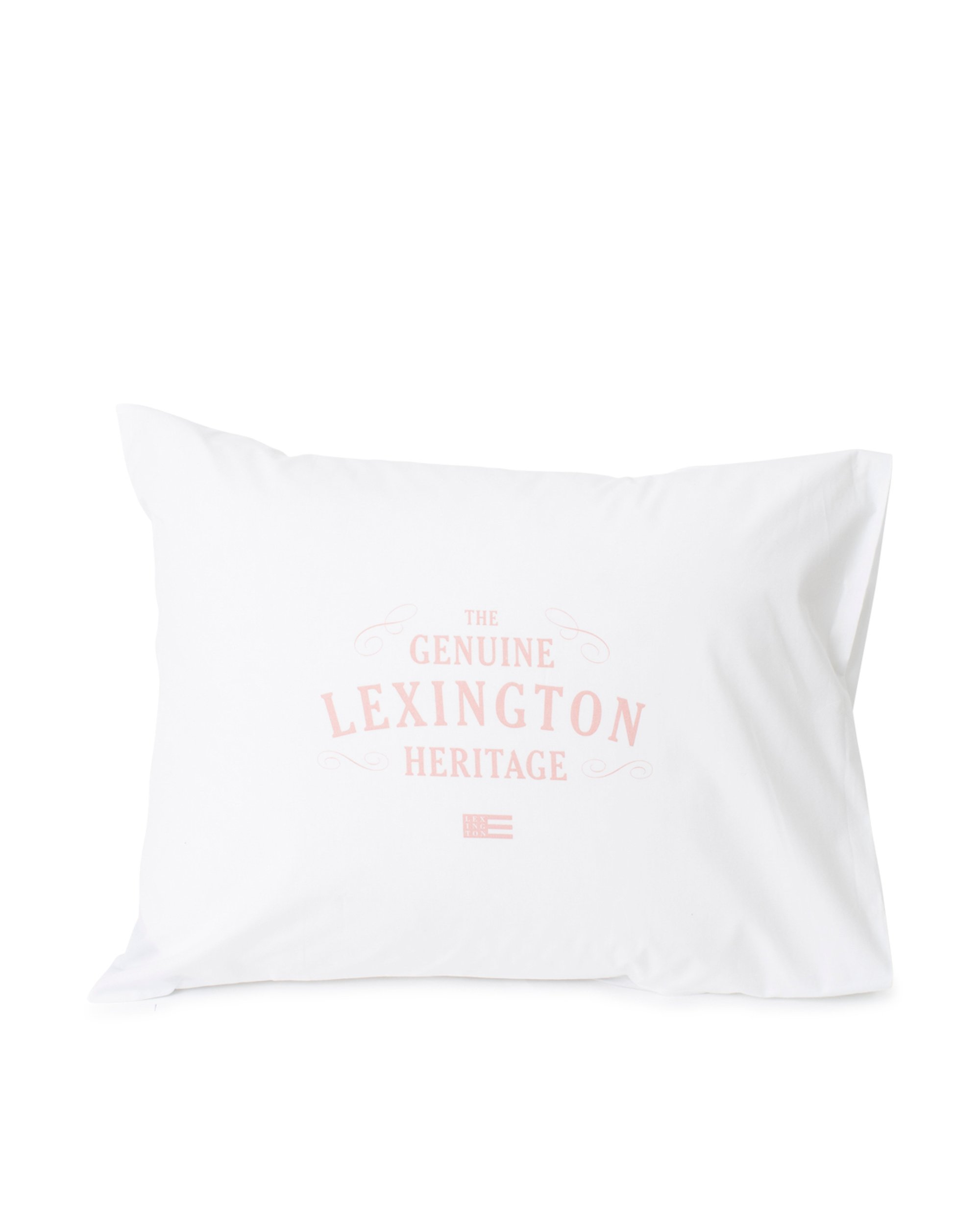 Lexington Printed Cotton Poplin Pillowcase, White/Pink