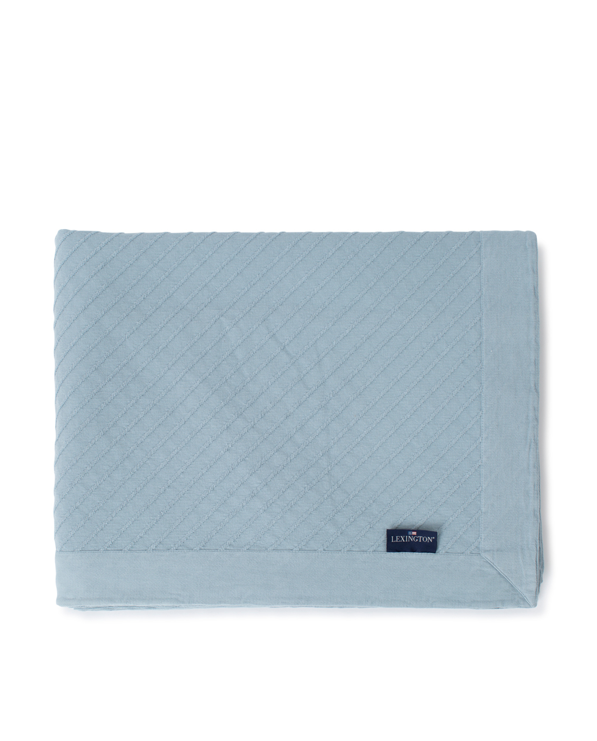 Diagonal Structured Cotton Bedspread, Light Blue