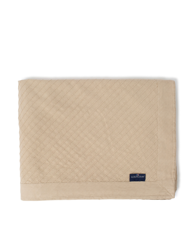 Diagonal Structured Cotton Bedspread, Light Beige