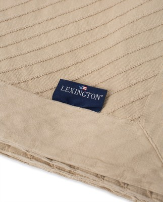 Diagonal Structured Cotton Bedspread, Light Beige