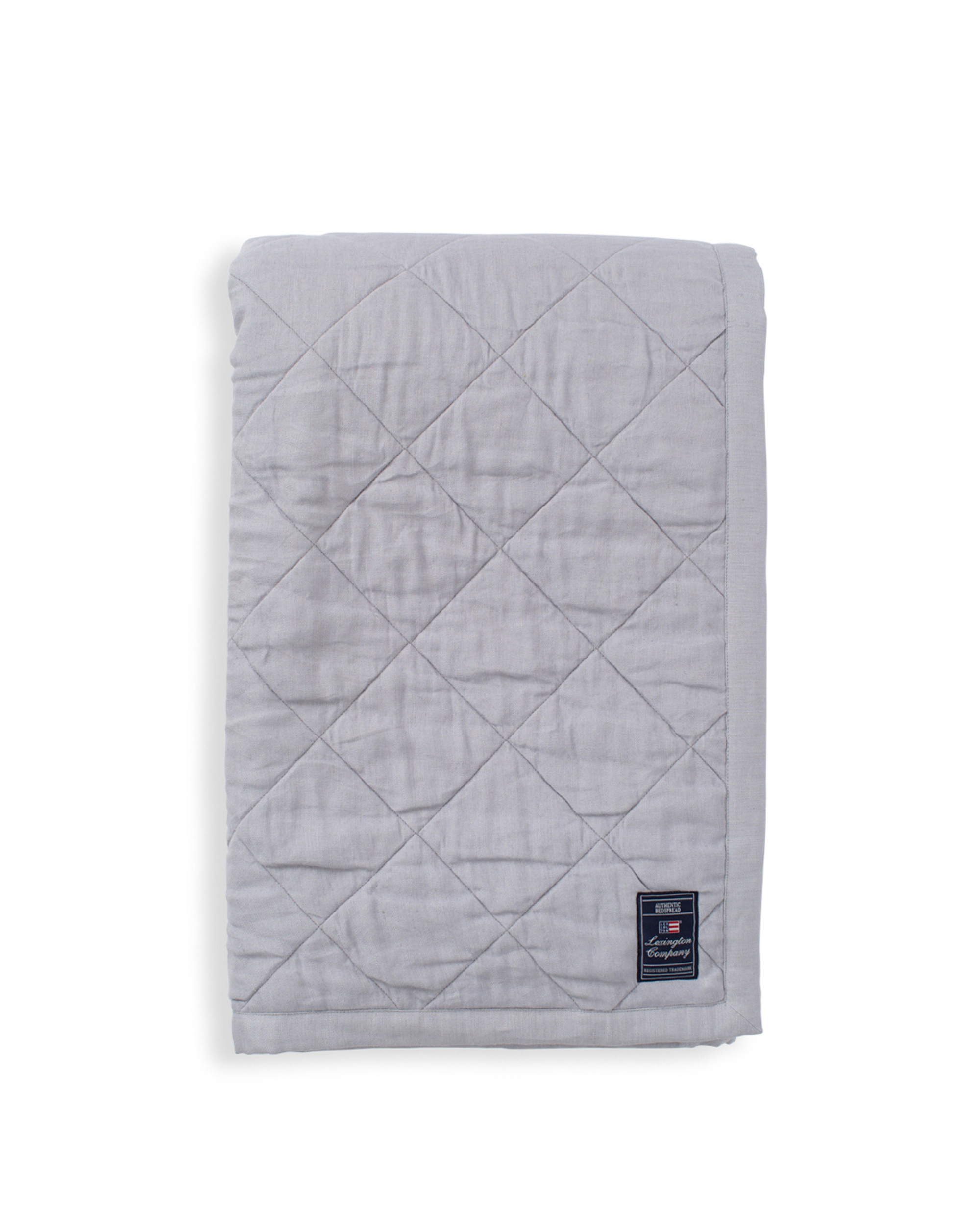 Quilted Linen/Viscose Bedspread, Light Gray