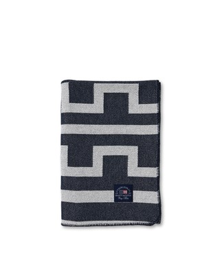 Graphic Recycled Cotton Blanket, Off White/Dark Blue