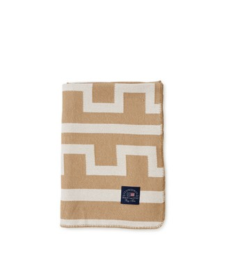 Graphic Recycled Cotton Blanket, Off White/Beige