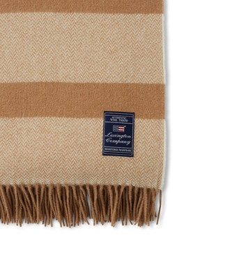 Herringbone Recycled Wool Throw, Beige