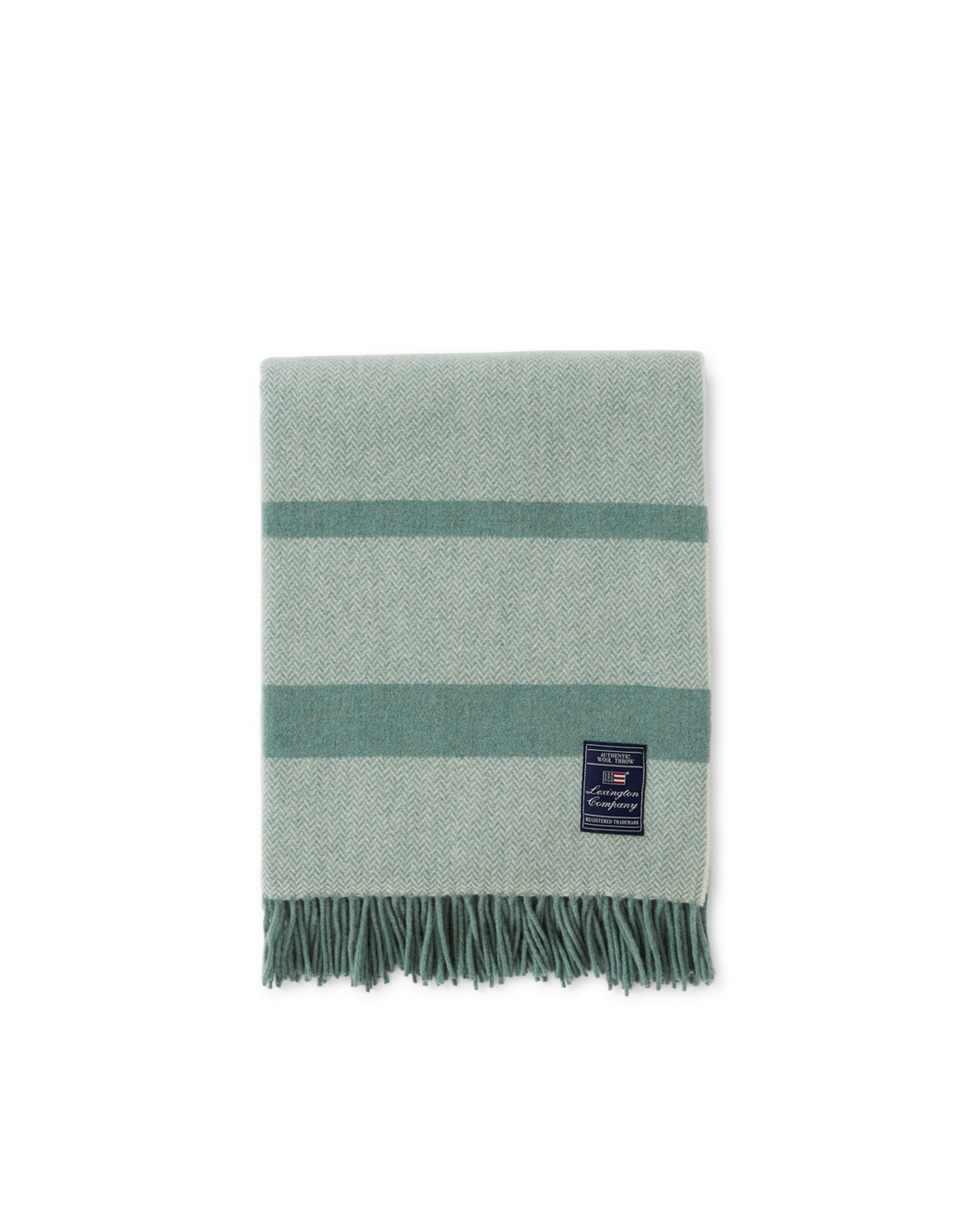 Herringbone Recycled Wool Throw, Green