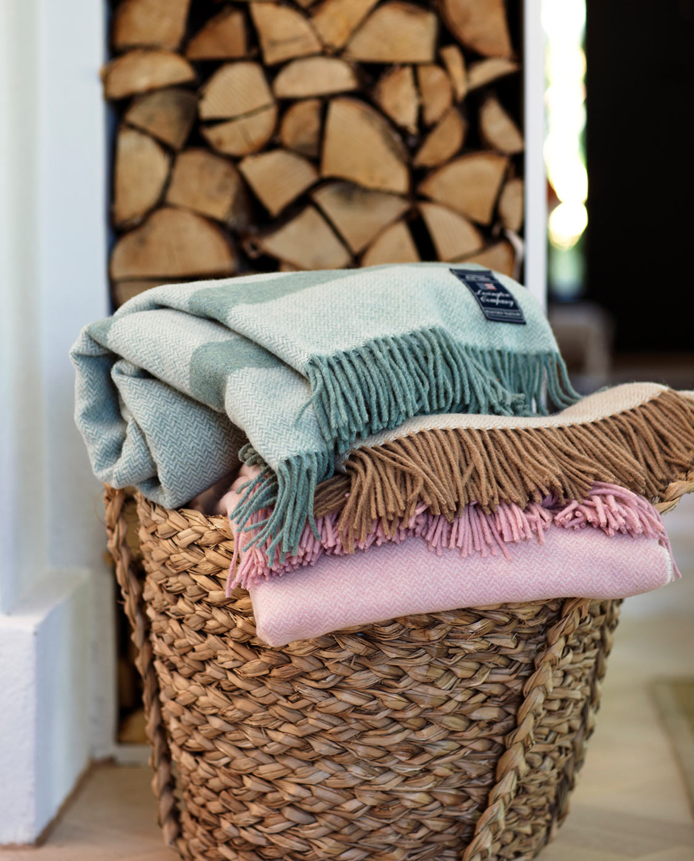 Herringbone Recycled Wool Throw, Green