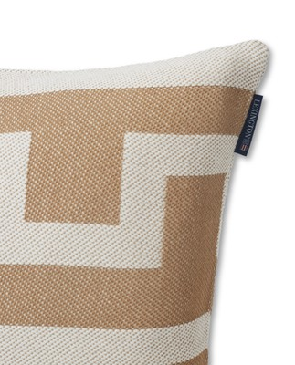 Graphic Recycled Cotton Pillow Cover, Off White/Beige