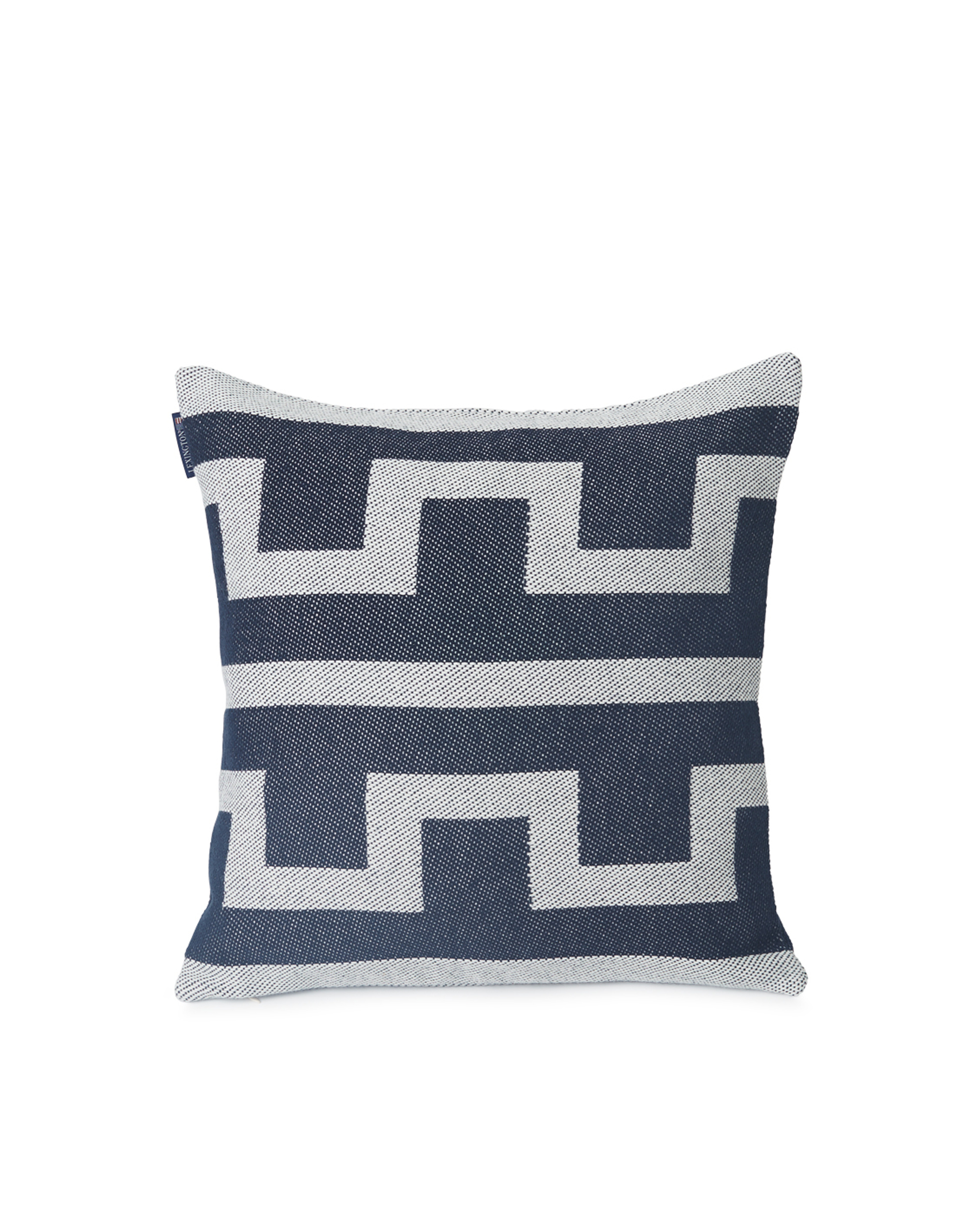 Graphic Recycled Cotton Pillow Cover, Off White/Dark Blue