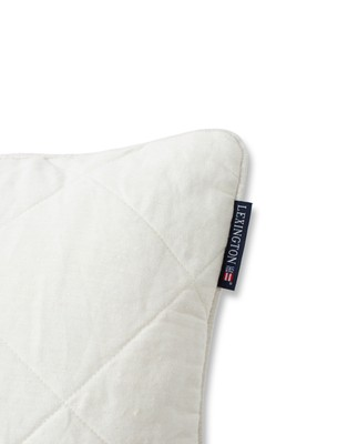 Quilted Linen/Viscose Pillow Cover, Off White