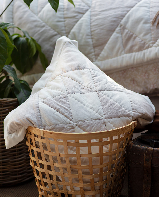 Patch Quilted Cotton Velvet/Linen Viscose Pillow Cover