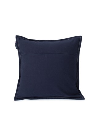 Logo Cotton Canvas Pillow Cover, Dark Blue