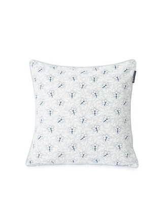 Printed Flower Cotton Canvas Pillow Cover, Light Gray/Blue