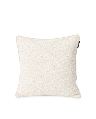 Printed Flower Cotton Canvas Pillow Cover, Light Beige/Pink