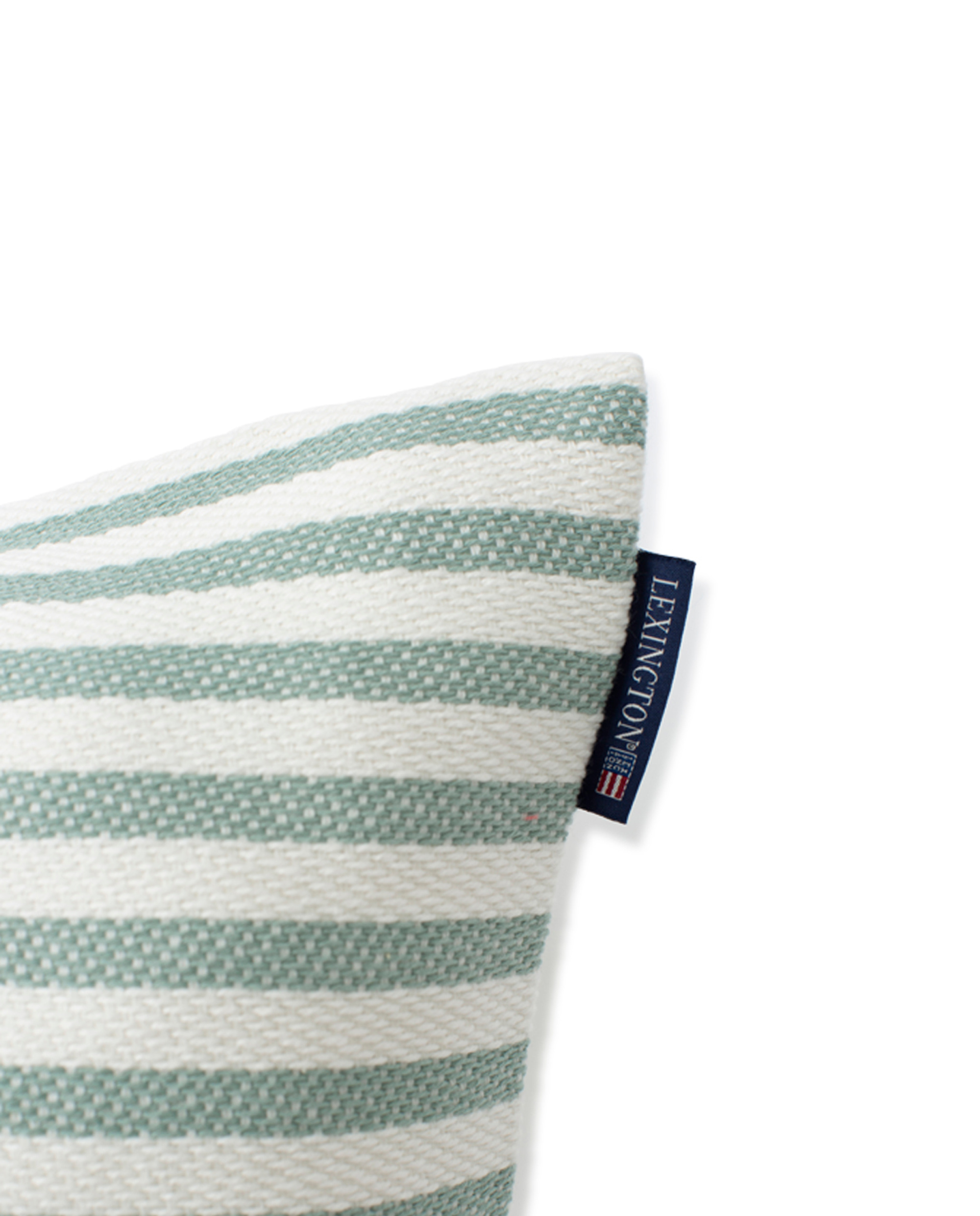 Block Striped Recycled Cotton Pillow Cover, Green