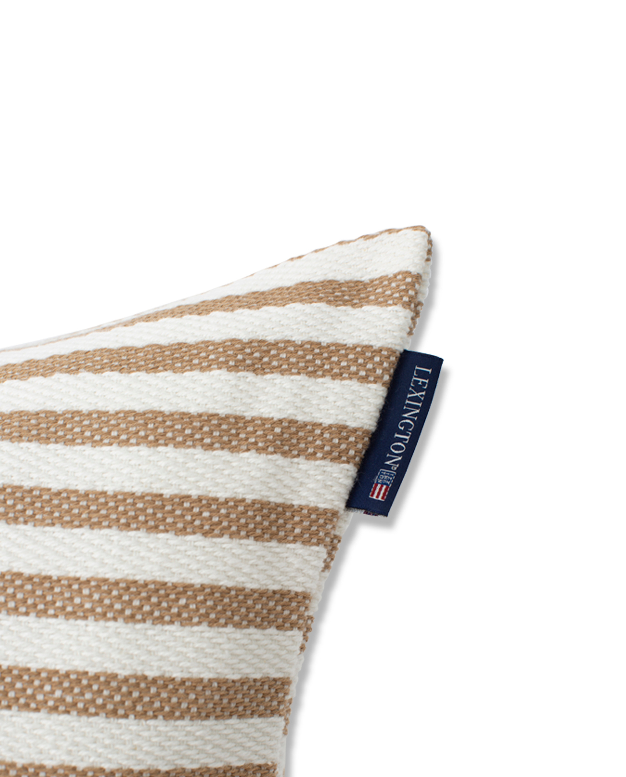 Block Striped Recycled Cotton Pillow Cover, Beige