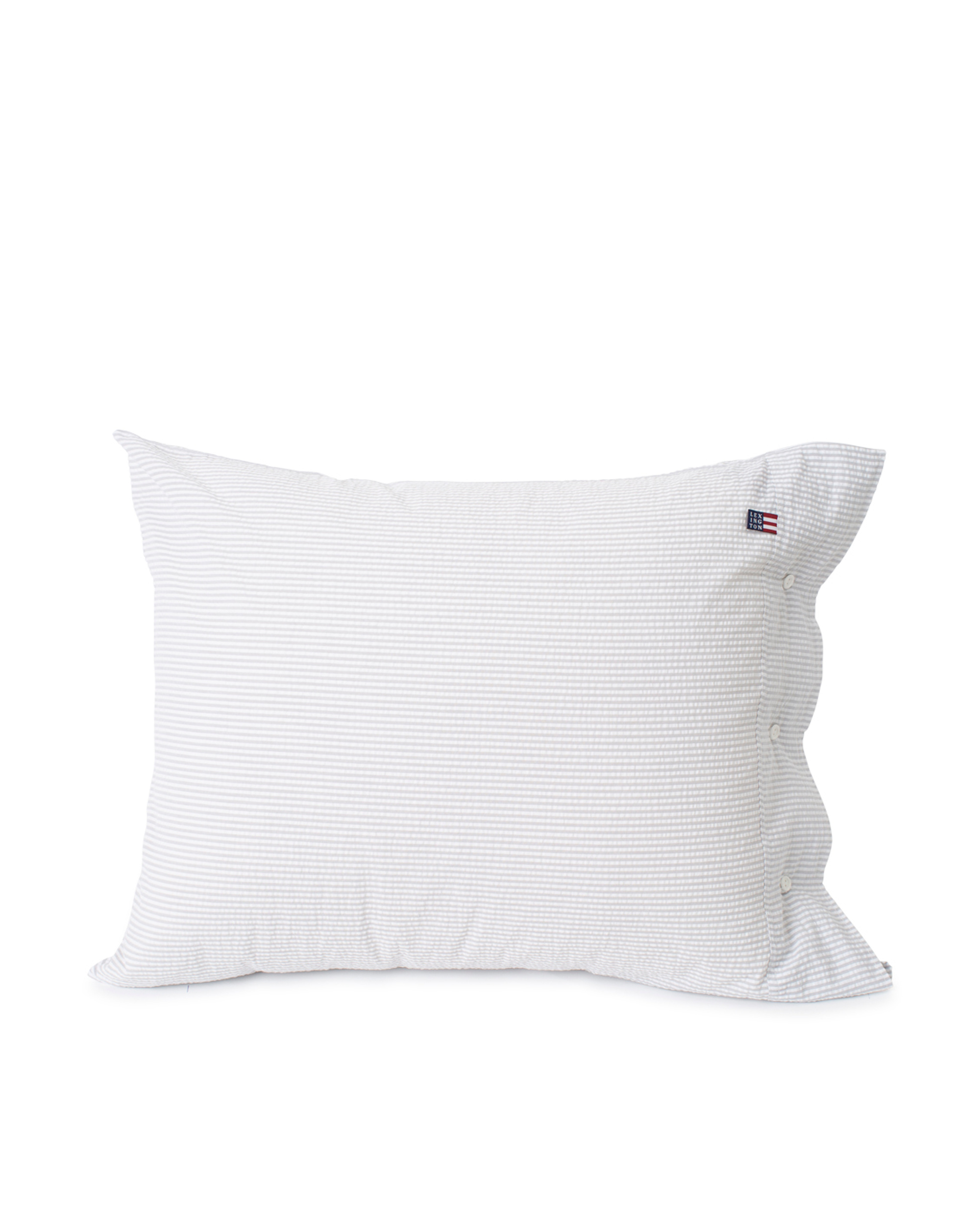 Light Gray/White Striped Cotton Seersucker Pillowcase