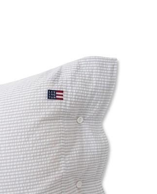 Light Gray/White Striped Cotton Seersucker Pillowcase