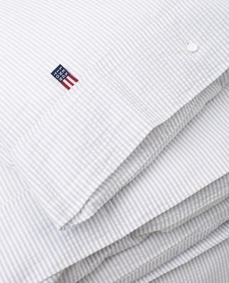 Light Gray/White Striped Cotton Seersucker Duvet Cover