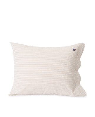Beige/White Striped Cotton Seersucker Pillowcase