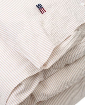 Beige/White Striped Cotton Seersucker Duvet Cover