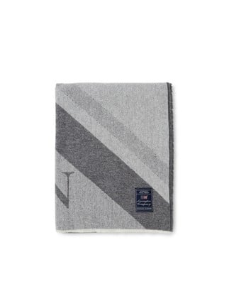 Diagonal Striped Light Wool Mix Logo Throw
