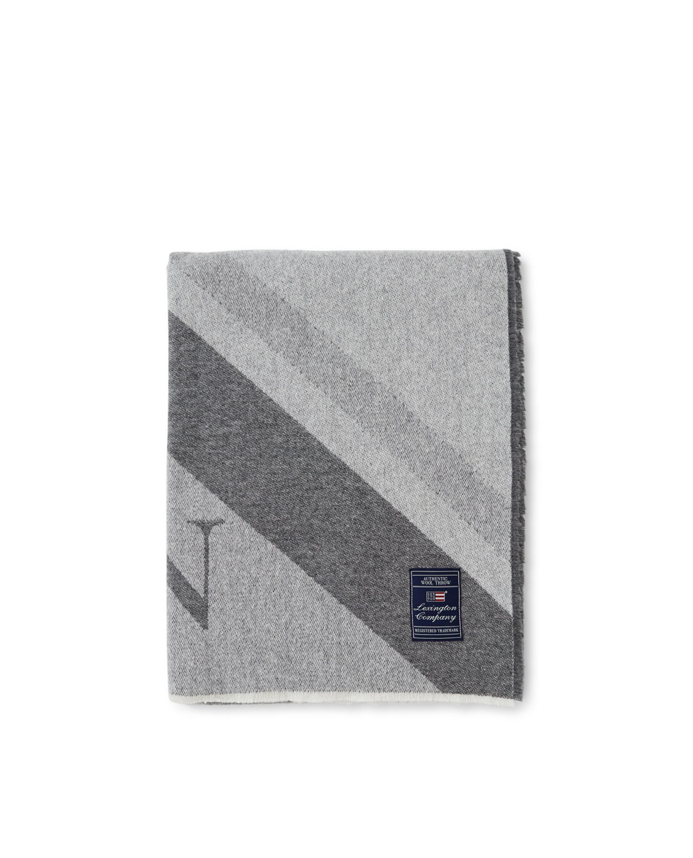 Diagonal Striped Light Wool Mix Logo Throw