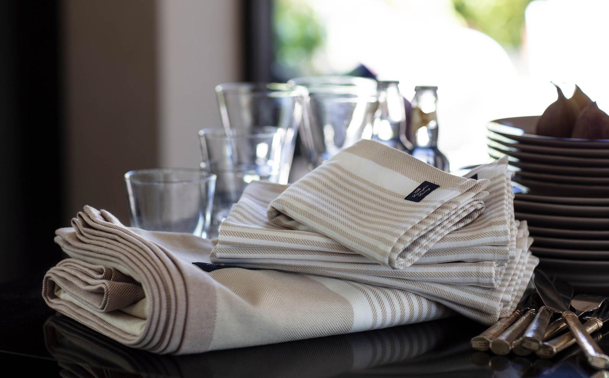 Striped Cotton Twill Tablecloth