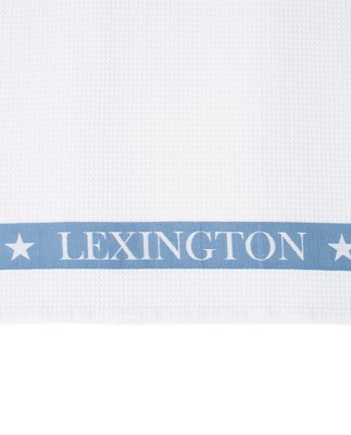 Cotton Waffle Logo Kitchen Towel, White/Blue