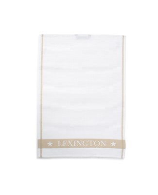 Cotton Waffle Logo Kitchen Towel, White/Beige