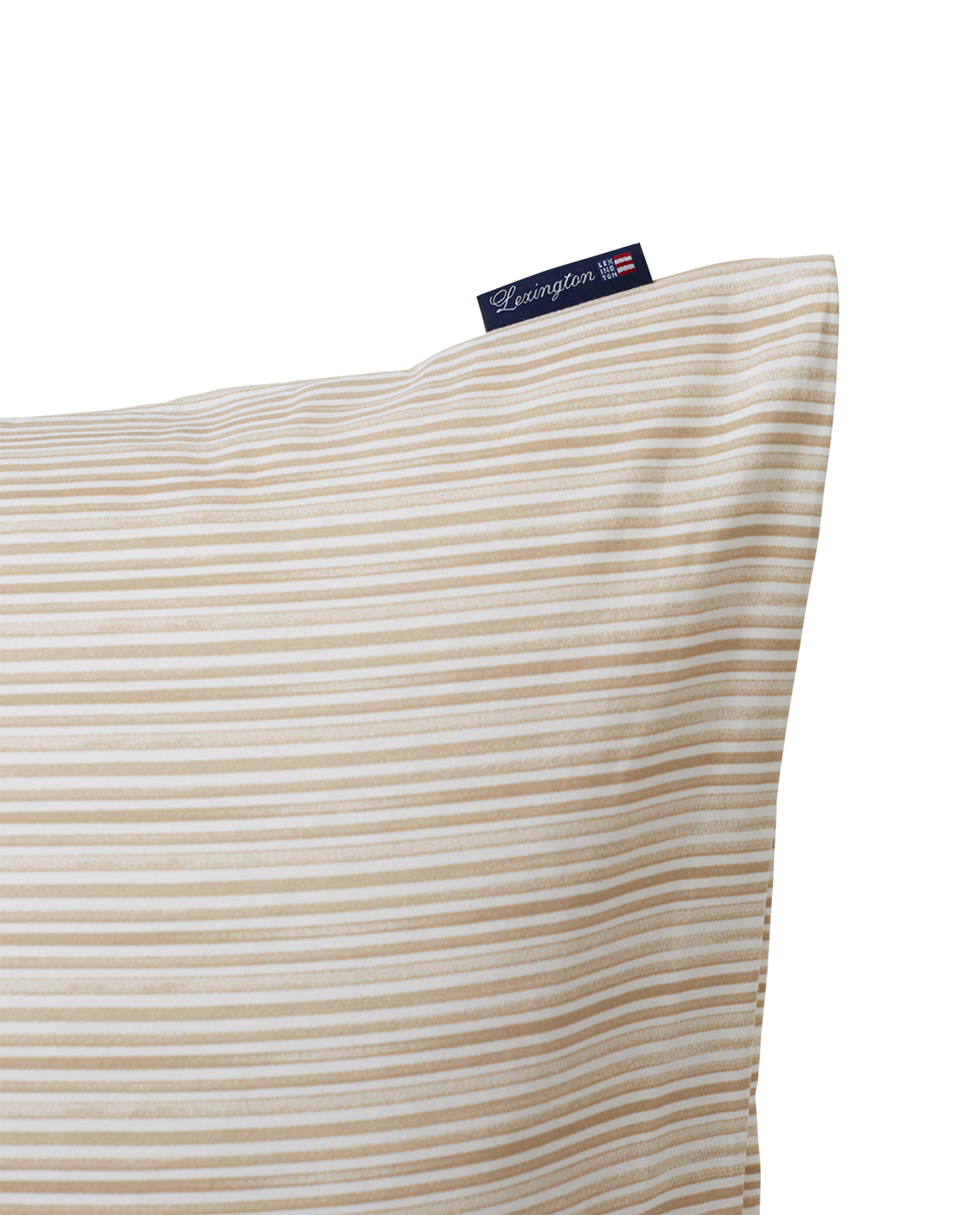 Beige Striped Organic Cotton Sateen Pillowcase